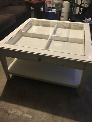 AU0.99 • Buy Coffee Table Ikea Liatorp White Wood With Glass Top With Display Drawer 93X93cm