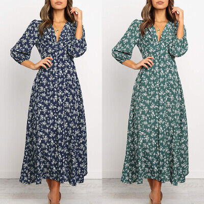 £12.89 • Buy Womens Summer 3/4 Sleeve Boho Floral Long Dress Holiday Party Beach Maxi Dress