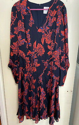 AU87.53 • Buy LK Bennett Red Rose Silk Mina Dress SizeUK14/US10