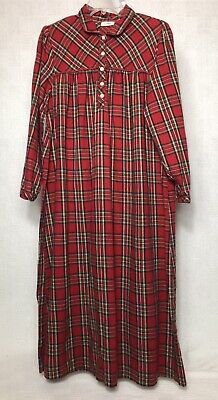 £27.31 • Buy L.L. Bean Red Scotch Plaid Flannel Night Gown Size Small Pintuck Dress Cotton