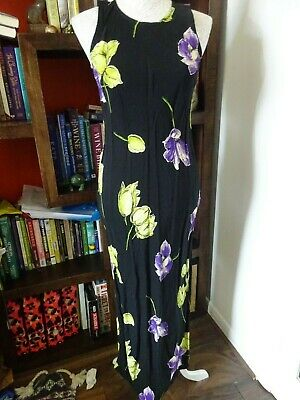 £10.80 • Buy Charlotte Halton Maxi Dress. Black With Purple And Green Floral Print. Size 10.