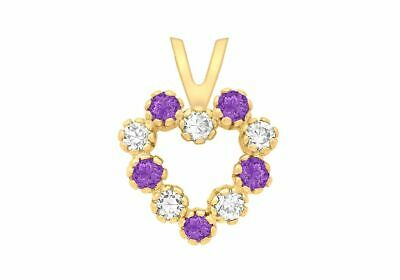 AU99.60 • Buy 9ct Yellow Gold White And Purple Heart Pendant