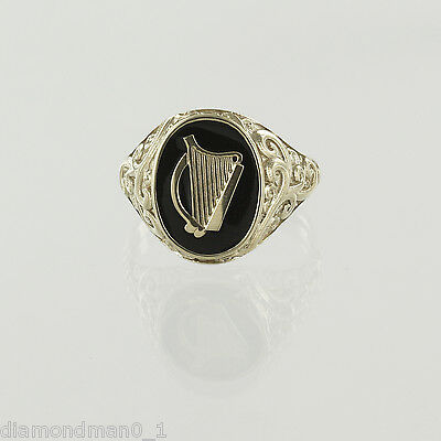 AU312.27 • Buy 9ct Yellow Gold Mans Irish Harp Coat Of Arms Ring Hallmarked