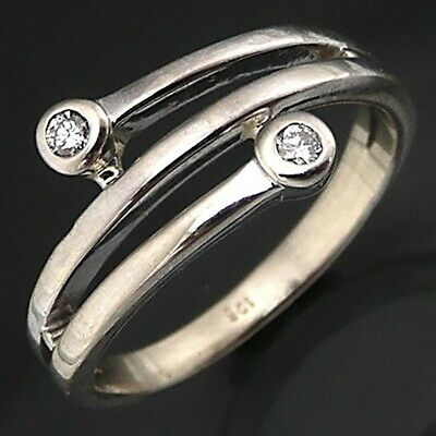 AU325 • Buy LOW 9k Solid WHITE GOLD SPIRAL With DIAMOND Set ENDS DRESS RING Sz M