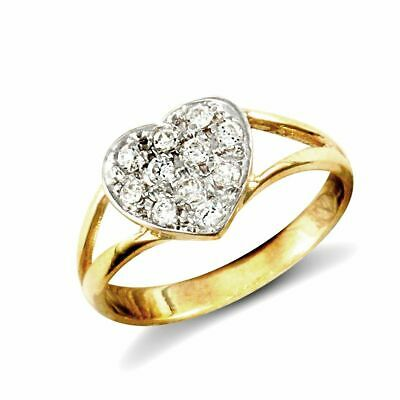 AU97 • Buy 9ct Yellow Gold Childs Clear Stone Heart Ring New