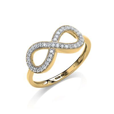 AU696.64 • Buy 9ct Yellow Gold 0.20ct Diamond Infinity Dress Style Ring