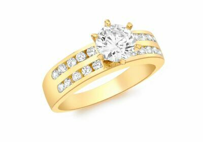 AU536.97 • Buy 9ct Yellow Gold Double Row Clear Stone Solitaire Ring