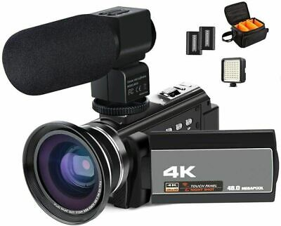 ACTITOP 4K Camcorder Video Camera 48MP Full HD WiFi + Wide Angle Lens, LED Light • 134.10£