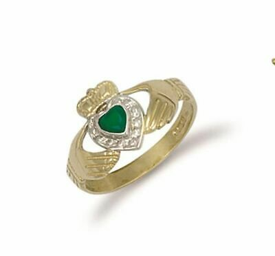AU459.52 • Buy 9ct Yellow Gold & Agate Claddagh Ring 11mm
