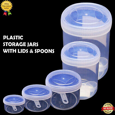 £6.49 • Buy Plastic Storage Jar With Screw Lid Spoon Set Spice Sweet Kitchen Container Clear