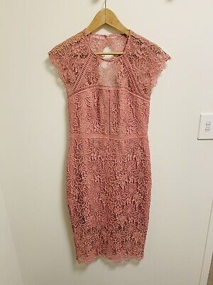 AU42 • Buy Forever New Pink Lace Dress Size 10 Vgc