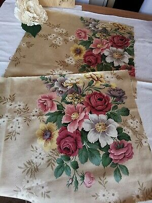 Vintage Sandersons Fabric Reclaimed Cabbage Roses Pk 17 • 16£