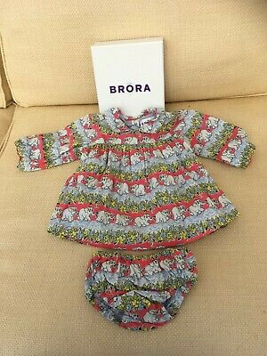 New Brora Baby Girls Lined Cotton Dress  & Pants Elephant Design 3-6months Boxed • 20£