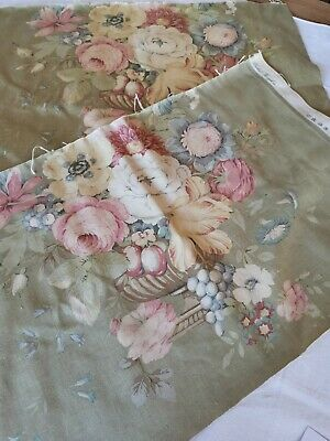 Vintage Sandersons Fabric Reclaimed Time Worn Cabbage Roses  Pk 26 • 12£