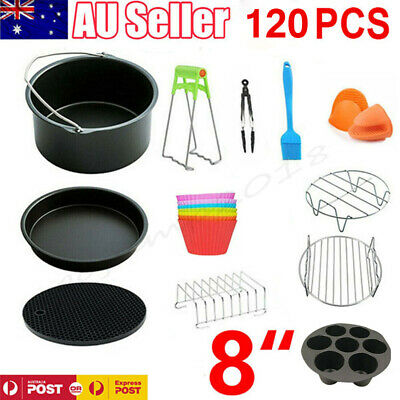 AU23.98 • Buy 120 PCS 8  Air Fryer Accessories Rack Cake Pizza Oven Barbecue FryingPan Tray AU