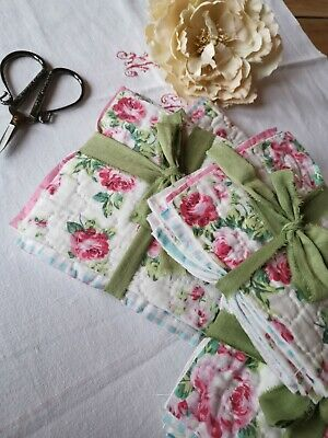 Reclaimed Quilt Bits Pink Cabbage Roses Mixed Media French Linen Ribbon • 10.50£
