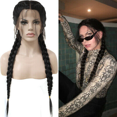 £44.99 • Buy Women Synthetic Braids Lace Front Wig Hair Long Black Double Twist Braided Wigs