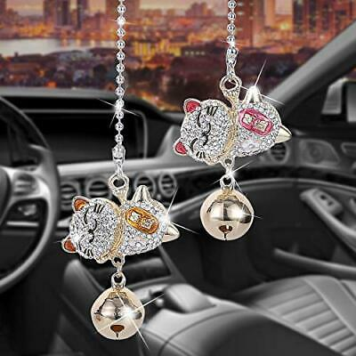 $15.24 • Buy Bling Car Accessories For Women And Men Cute Lucky Cat With Bells Decorations