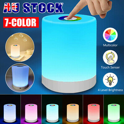 AU20.99 • Buy Touch LED Night Light Bedside Desk RGB Lamp Table Mood USB Dimmable Rechargeable