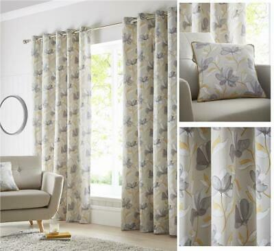 Lined Curtains Eyelet Ring Top Ochre Yellow & Natural / Grey Ready Made Sizes • 22.99£