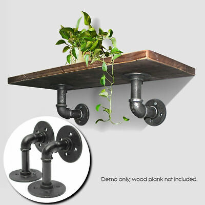 £8.89 • Buy 2PC Pipe Shelf Brackets Industrial Iron Rustic Wall Floating Shelves Supports UK