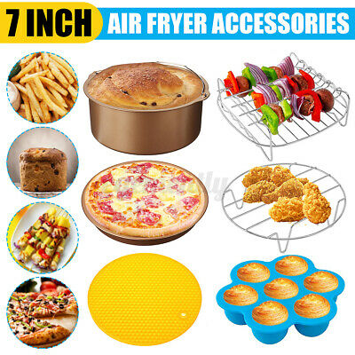 AU22.49 • Buy 7 Inch Air Fryer Accessories Set Cake Pizza Oven Barbecue Frying Pan Tray