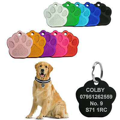 £2.65 • Buy Personalised Dog Engraved Tags Puppy ID Charm Paw Name Collar Identification UK
