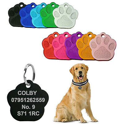 £3.05 • Buy Engraved Dog Personalised Tags Puppy ID Charm Paw Name Collar Identification UK