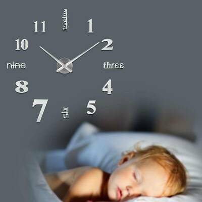 £6 • Buy Large DIY 3D Frameless Number Wall Clock Mirror Sticker Home Office Room Decor
