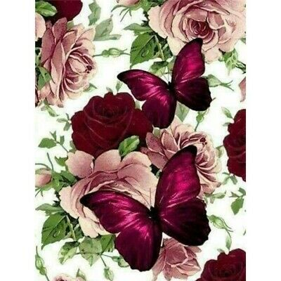 AU12.96 • Buy 5D Full Drill Diamond Painting Butterfly And Rose Embroidery Gift Cross Stitch
