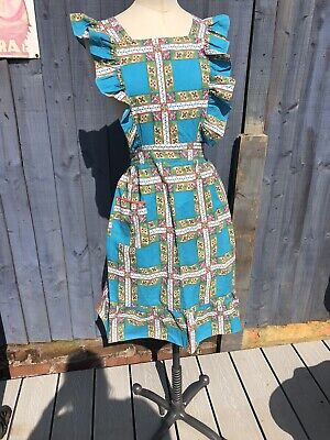 £25 • Buy VINTAGE 1950s HOUSEWIFE NUTILITY PINNY APRON FRILLY PINAFORE 100% COTTON PRINT