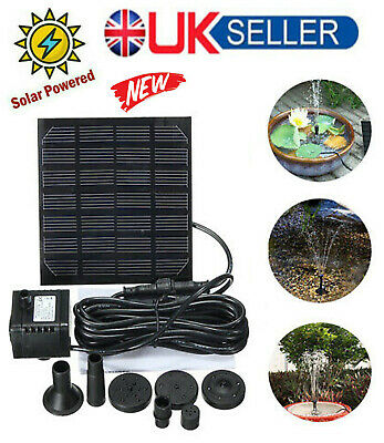 £9.69 • Buy 180L/H Solar Powered Fountain Submersible Water Pump Feature Garden Pool Pond UK