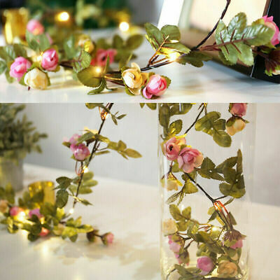 £6.59 • Buy 2M LED Artificial Rose Flower Fairy String Lights Home Party Wedding Decor Lamp