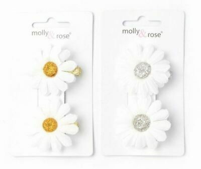 £2.69 • Buy Ladies Childrens Girls Pair Of 3cm White Daisy Hair Grip Clip Gold Or Silver