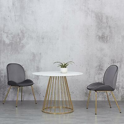 £379.99 • Buy White Round Marble Dining Table And Two Grey Velvet Chairs Set Gold Legs 4Seater