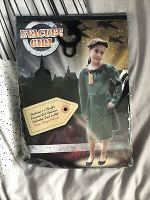 £9.28 • Buy Wartime Evacuee Girl Kids Historical Fancy Dress Costume Outfit New Large 146cm