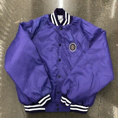 $75 • Buy Vintage 80s USA Military Order Purple Heart Embroidered Satin Jacket Size XL