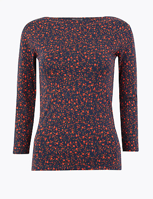 £4.99 • Buy EX M&S Fitted Slash Neck 3/4 Sleeve T Shirt Top Navy With Coral Floral Print