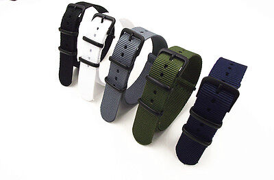 £5.85 • Buy 3 RING NYLON WATCH STRAP NATO G10 BAND MILITARY STYLE  5 Colours 18-22 Diameter