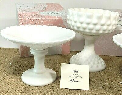 $14.99 • Buy Rosanna Les Petite Sweets Milk Glass Look Candy  Dish Compote Pedestal Scallop