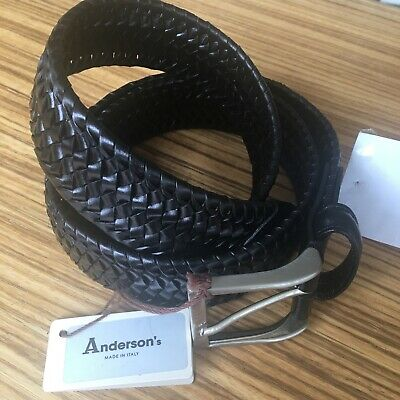 £49.95 • Buy Anderson's Belt, Black Plaited Genuine Leather, Stretchy! ~ NEW + TAGS  RRP £93!
