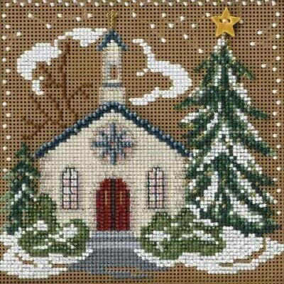 $12.99 • Buy Mill Hill 2006 Winter Buttons & Beads Counted Cross Stitch Kit ~Country Church ~