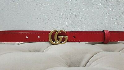 AU199.60 • Buy Gucci  Red Skinny Belt, Golden Tone Buckle