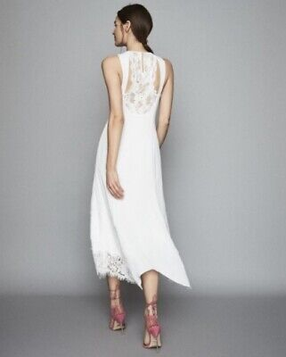 $ CDN128.22 • Buy Reiss - Romi Style Lace Detailed Midi Dress White New With Tags Genuine Size 14