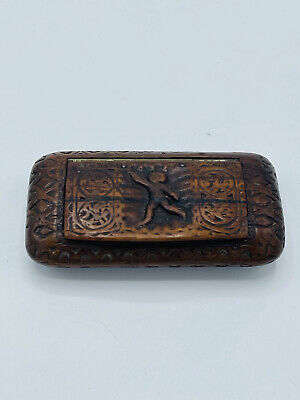 £97.78 • Buy Antique, Very Early Hand Carved Wooden Snuff Box With A Carved Figure 1750/1800