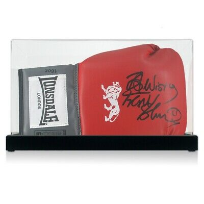 AU354 • Buy Frank Bruno Signed Red Boxing Glove. In Display Case