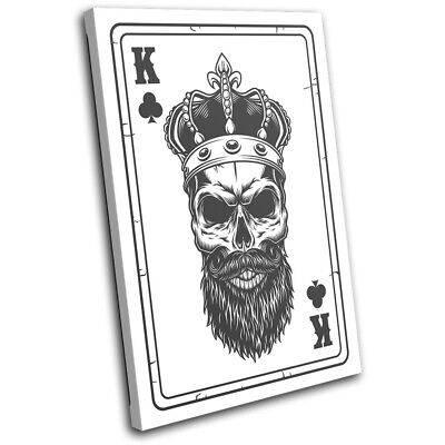 £34.99 • Buy Poker Card Skull King Of Clubs Vintage SINGLE CANVAS WALL ART Picture Print