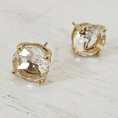 $ CDN27.89 • Buy Kate Spade Round Stud Gold Glitter Earrings Crystal Pierced Faceted 3/8