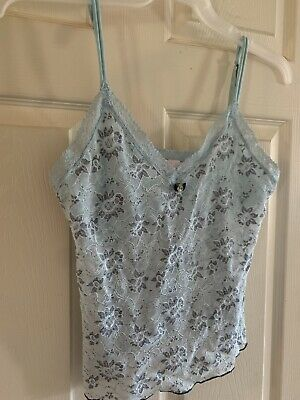 Victorias Secret Angel Large Light Blue Floral Lace Cami W/ Bra Insert • 6.44£
