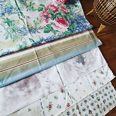 Vintage Remnant Reclaimed Fabric Pk  Dorma Cabbage Rose Sandersons French Pk 156 • 20£